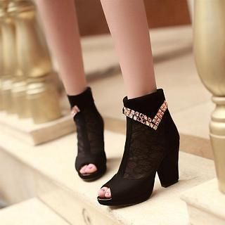 JY Shoes - Rhinestone Lace Panel Peep-Toe Ankle Boots