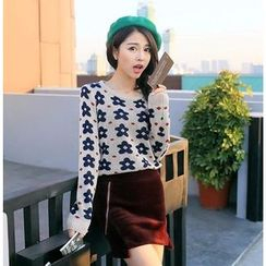 anzoveve - Flower Print Knit Top