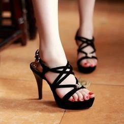 JY Shoes - Platform Cross Strap High Heel Sandals