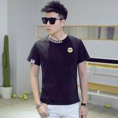 Alvicio - Smiley Face Print Short Sleeve T-Shirt