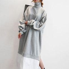 NANING9 - Turtle-Neck Layered-Hem Long Dress