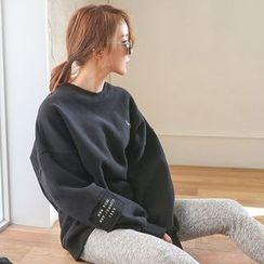 PPGIRL - Fleece-Lined Lettering Pullover