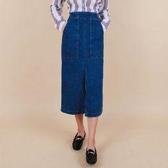 Vintage Vender - Slit-Front Denim Long Skirt