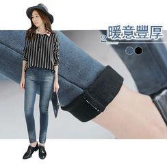 OrangeBear - Distressed Fleeced Skinny Jeans