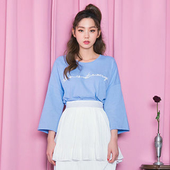 chuu - Wide-Sleeve Lettering-Embroidered T-Shirt