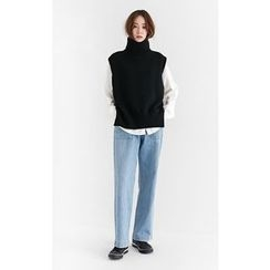 Someday, if - Turtle-Neck Sleeveless Wool Blend Knit Top
