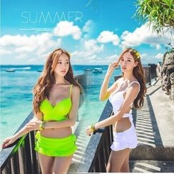 Shanyoo - Set: Plain Bikini + Swim Skirt
