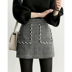 UPTOWNHOLIC - Cord-Trim Checked Skirt