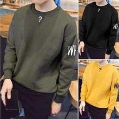 Hissse - Letter Fleece-Lined Sweatshirt