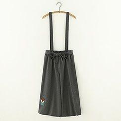 Meimei - Embroidered Stripe Jumper Skirt