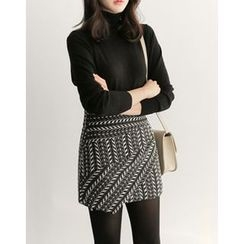 UPTOWNHOLIC - Wrap-Front Pattern Skirt