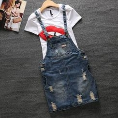Rock Amuse - Distressed Denim Jumper Skirt