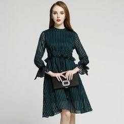 Elabo - Ruffle Trim Striped A-Line Dress