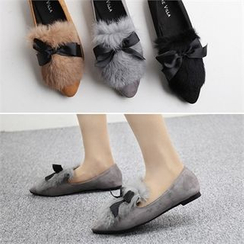 Reneve - Pointy-Toe Ribbon Faux-Fur Panel Flats