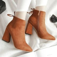 Gizmal Boots - Block Heel Pointy Ankle Boots