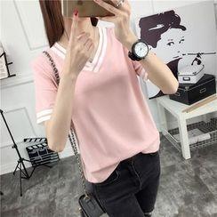 Ukiyo - Contrast Trim V-Neck Short-Sleeve T-Shirt