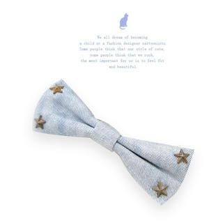 Fit-to-Kill - Stars rivet denim bow hair pin -light blue