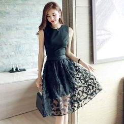 Lovi - Set: Sleeveless Top + Organza A-Line Skirt