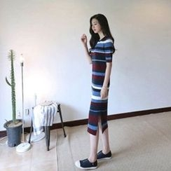 Hello sweety - Short-Sleeve Stripe Midi Dress