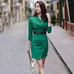Lovi - 3/4-Sleeve Wrap Front Sheath Dress