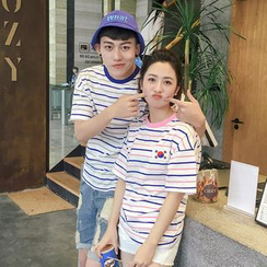 Evolu Fashion - Couple Matching Striped Short Sleeve T-Shirt