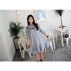 Envy Look - Lettering Ruffle-Hem Dress