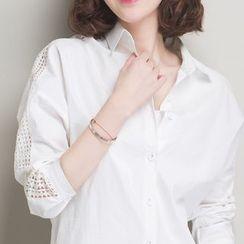 Dream Girl - 鉤織拼接七分袖襯衫
