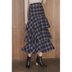 migunstyle - Band-Waist Checked Tiered Skirt