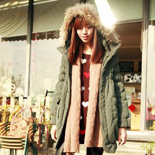 Faux-Fur Trim Hooded Coat