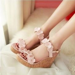 Tomma - Flower Accent Wedge Sandals
