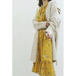 ATTYSTORY - Open-Front Long Rib-Knit Cardigan