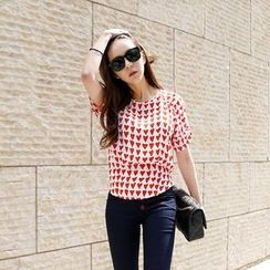REDOPIN - Short-Sleeve Heart Print Top