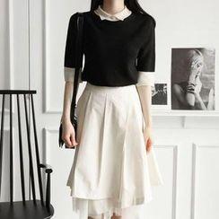 Flower Creek - Set: Elbow-Sleeve Top + Midi Skirt