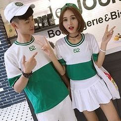 Azure - Couple Matching Color Block Embroidered Short Sleeve T-Shirt