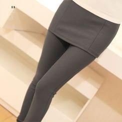 Simpure - 假兩件迷你裙內搭褲