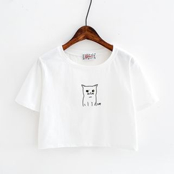 Sunny Day - Cat Print Cropped Short-Sleeve T-Shirt