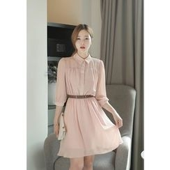 MyFiona - Shirred Chiffon Shirtdress with Belt