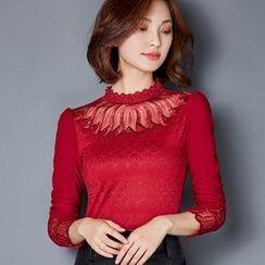 Oaksa - Long-Sleeve Lace Panel Mock Neck T-Shirt