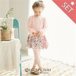 LILIPURRI - Girls Set: Balloon-Sleeve Top + Inset Floral Skirt Leggings