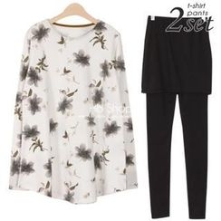 Ho Shop - Set: Floral Print A-Line Top + Inset Skirt Leggings