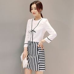 Mandalle - Set: Bow Accent 3/4 Sleeve Top + Striped Skirt