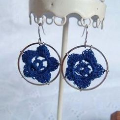 MyLittleThing - Lace Flower Ring Earrings(Blue)