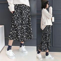 DANI LOVE - Floral Print Layered Long Skirt