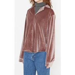Someday, if - Notched-Lapel Velvet Blouse