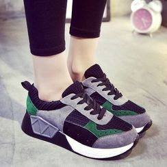 Shoeland - Color Panel Lace Up Sneakers