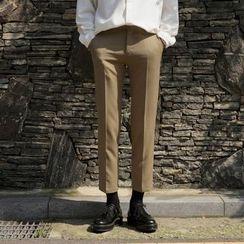 Seoul Homme - Flat-Front Straight-Cut Dress Pants