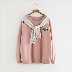 Storyland - Tie-Neck Embroidery Pullover