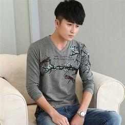SOLER - Print V-neck Sweatshirt