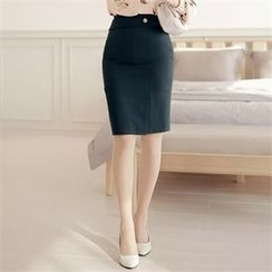 CHICLINE - Slit-Front Skirt