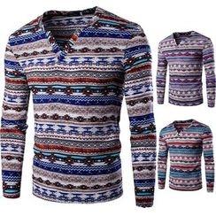 Blueforce - Patterned V-Neck Long-Sleeve T-Shirt